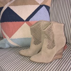 Tan suede wedge ankle boots